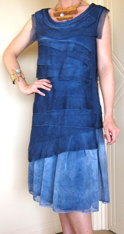 elegant layered outfit, ladies wear, fashion clothing, layered skirt, layered top, sleeveless top,Layered Skirt With Sleeveless Layered Tunic Top Denim Blue
