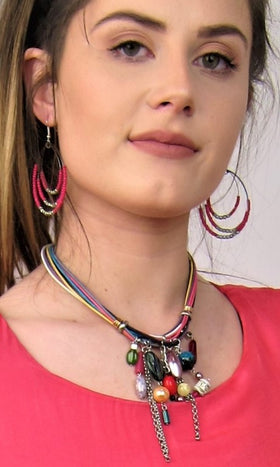 Multi Coloured, Fashionable Australian Made Designer Necklace