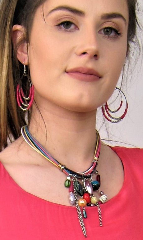 Australian Made necklace,  Fashionable jewellery, Italian designed, Multi coloured necklace, Ladies cord necklace, womens fashion accessories
