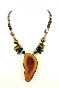 Semi Precious Stylish Agate And Shell Necklace, fashion necklace, semi precious, fashion jewellery, ladies accessoires