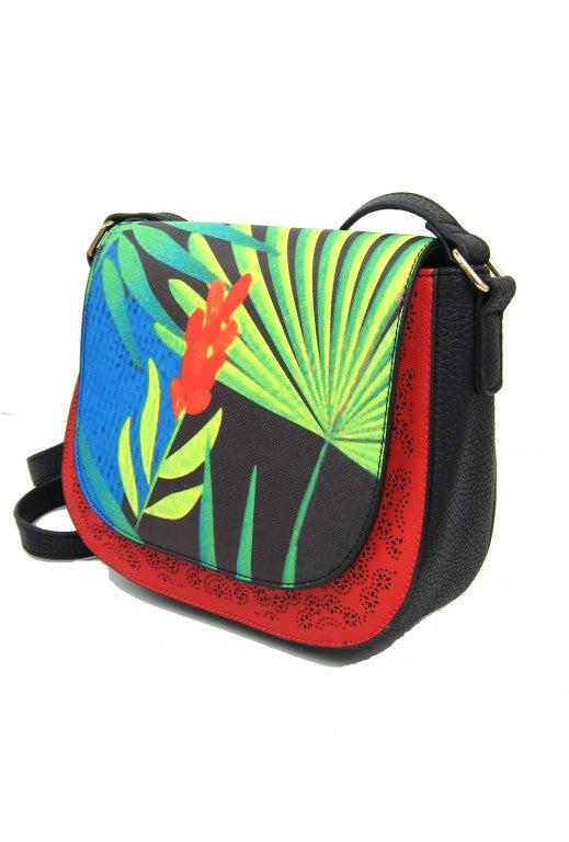Tropical Small Colourful Faux Leather Fashion Shoulderbag, shoulder bag, ladies accessories, womens handbag, cross body bag, Tropical vegan leather bags, vegan leather bags, vegan leather fashion bags, vegan leather fashion, vegan leather fashion accessories, vegan leather shoulder bags, stylish vegan leather bag, elegant vegan leather bags, fashionable vegan leather bags
