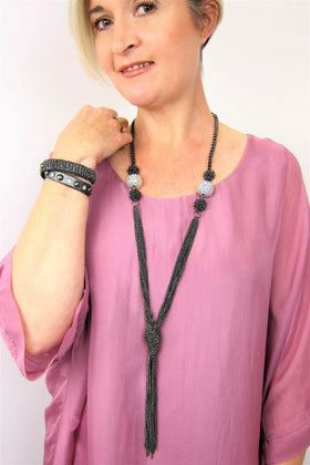 Stunning Long Gunmetal Chain Necklace