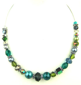 Stunning Peacock Multi Coloured Crystal Necklace