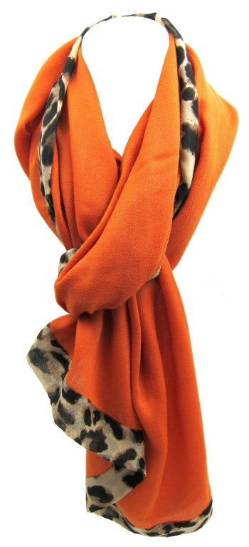 fashion scarf, leopard print, burnt orange, elegant scarf, stylish, oblong scarf, ladies scarf, fashion accessories, female fashion scarf