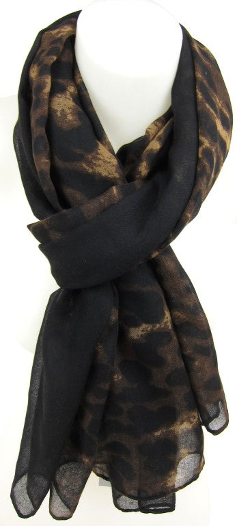 black leopard print scarf, fashion accessories, ladies scarf, female fashion accessories, Stylish Design Animal Print Scarf Accessory