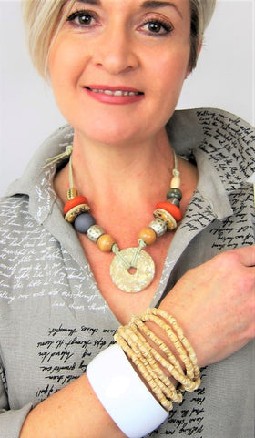 Stylish Italian Natural Multi Bead Necklace