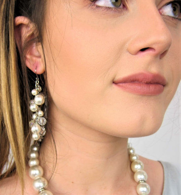 Stylish fashion ladies earrings, Immitation jewellery, pearl fashion earrings, clustered earrings