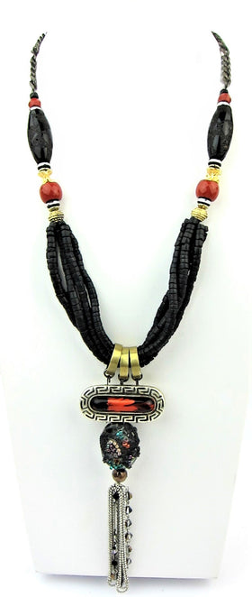 Unique Designer Black And Coral Italian Necklace