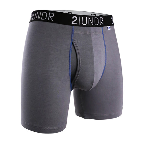 SWING SHIFT BOXER BRIEF GREY/BLUE - SALE