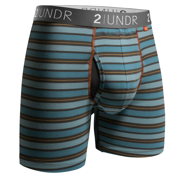 SWING SHIFT BOXER BRIEF BLUE/ORANGE STRIPE