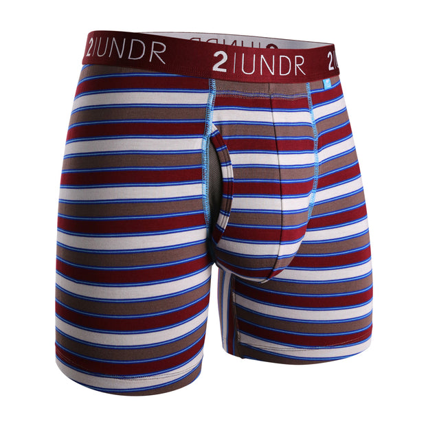 SWING SHIFT BOXER BRIEF BURGUNDY STRIPE