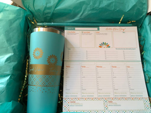 Tumbler and Planner Inspirational Desk Set