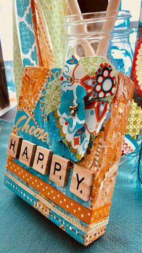 """Choose Happy"" Hand-painted, Mixed Media Limited Edition Canvas Art"