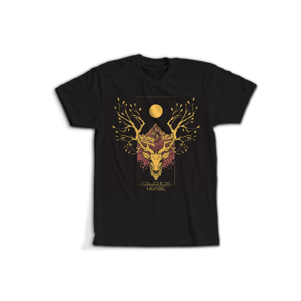 CALIGULA'S HORSE // RISE RADIANT OCHRE DEER BLACK T-SHIRT - Wild Thing Records