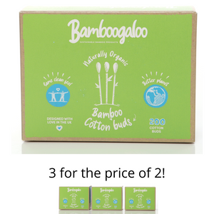 Organic Bamboo Cotton Buds - 100% Biodegradable - 200 Piece Boxes - Select Quantity