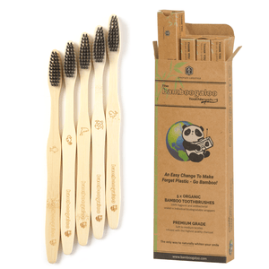 Pack of 5 Bamboo Toothbrushes with Charcoal Bristles - Bamboogaloo