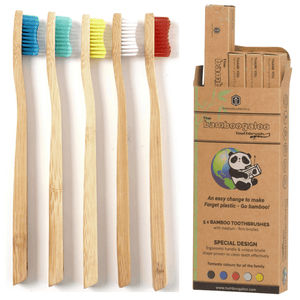 This bamboo toothbrush colour 5 pack has 2 free gifts - bamboo cotton buds and biodegradable vegan dental floss. Bamboogaloo are the UK's best selling bamboo toothbrush company with eco friendly products and a good company ethos. These wooden toothbrushes won't disappoint!