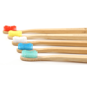 Bamboo Toothbrushes in Red, Yellow, White, Blue and Green