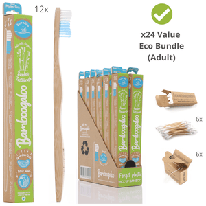 Eco Bundle 4 – Adult 24 Items – Adult Bamboo Toothbrushes (Ocean Edition), Bamboo Cotton Buds, Biodegradable Dental Floss