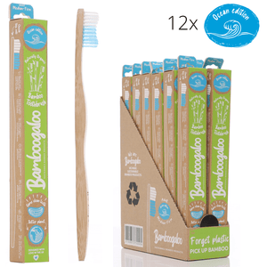 Eco Bundle 1 – Adult 12 Pack – Bamboo Toothbrushes with Ocean Edition Wave Bristles