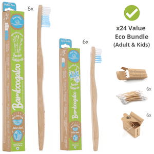 Eco Bundle 6 – Mixed 24 Items – Adult & Kids Bamboo Toothbrushes (Ocean Edition), Bamboo Cotton Buds, Biodegradable Dental Floss