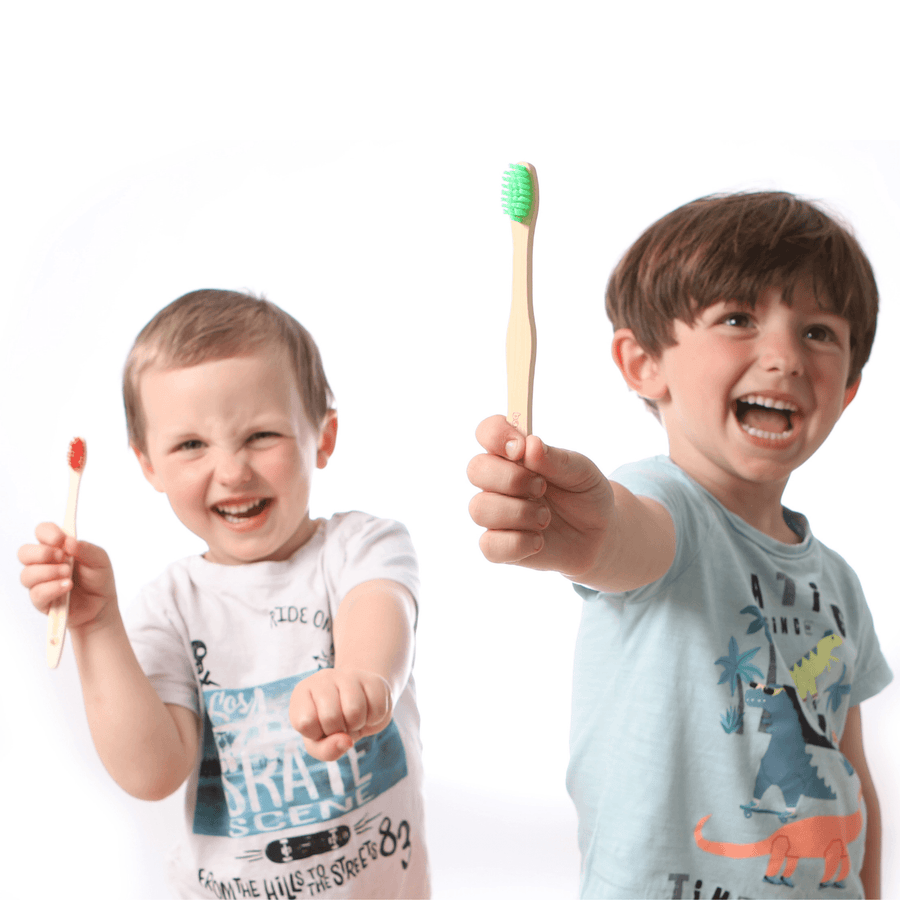 Kids Bamboo Toothbrushes with Rainbow Bristles - Soft - Pack of 4