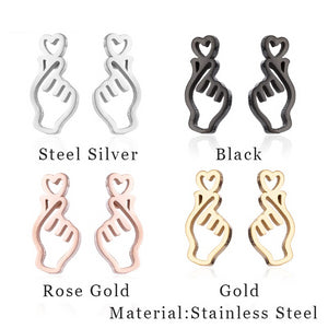 Finger Heart Earrings - KPOP SALES
