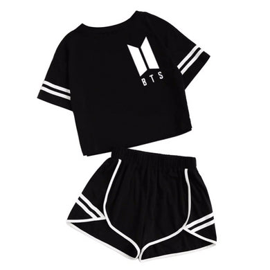 BTS Crop Top With Short Set - KPOP SALES