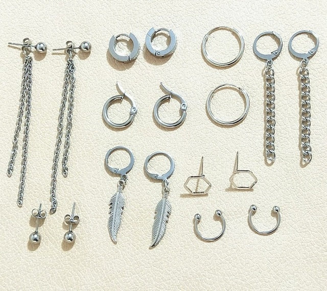 V Earrings (18 pcs/set) - KPOP SALES