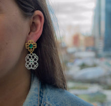 Load image into Gallery viewer, Eleonora Emerald Post Earrings
