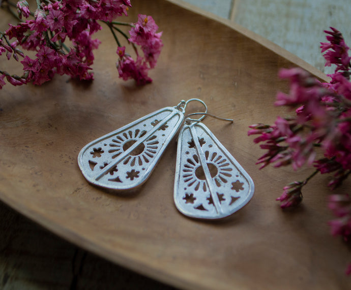 Stainglass Statement Earrings - Silver Earrings