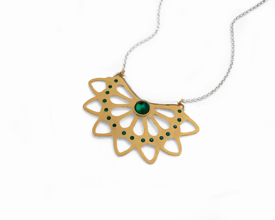Emerald Divine Necklace - Gold Pendant