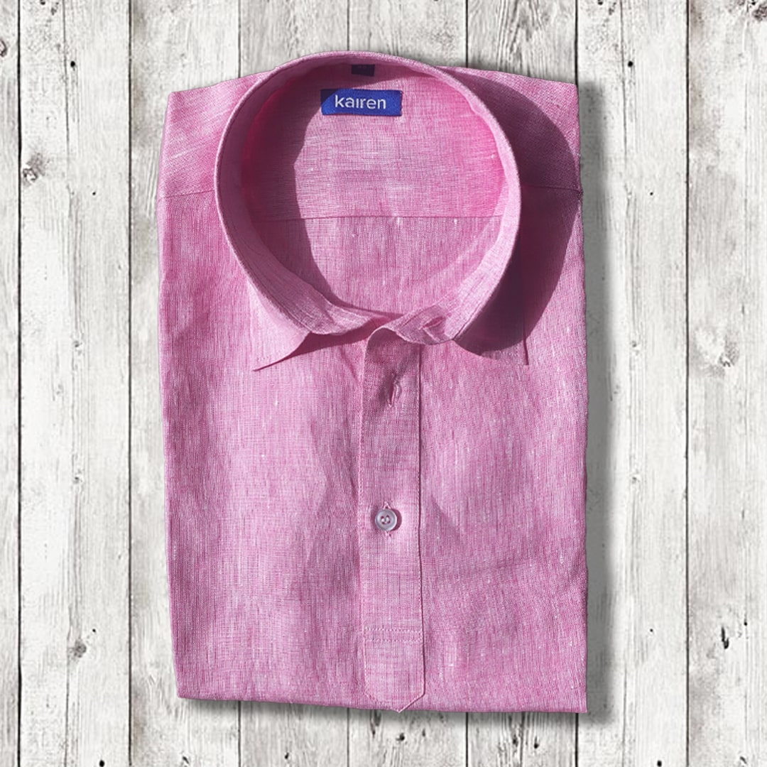 Light Pink Linen Popover Shirt
