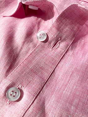 Pink Linen Shirt Placket