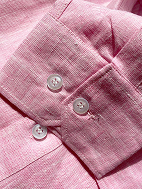 Light Pink Linen Popover Shirt Cuff