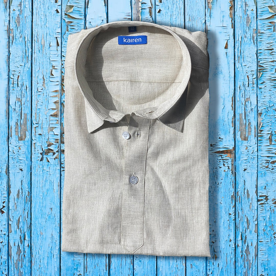Beige Men Linen Shirt