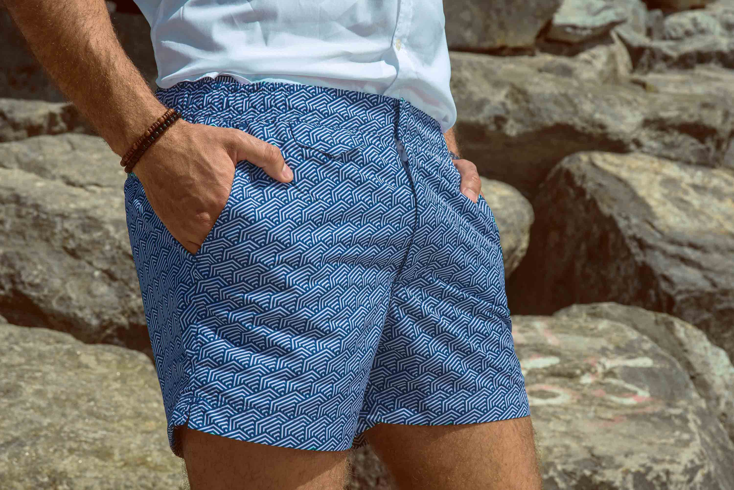 Retro Men SwimShorts - Waves #Riviera 100% Recycled Plastic - kairenlife