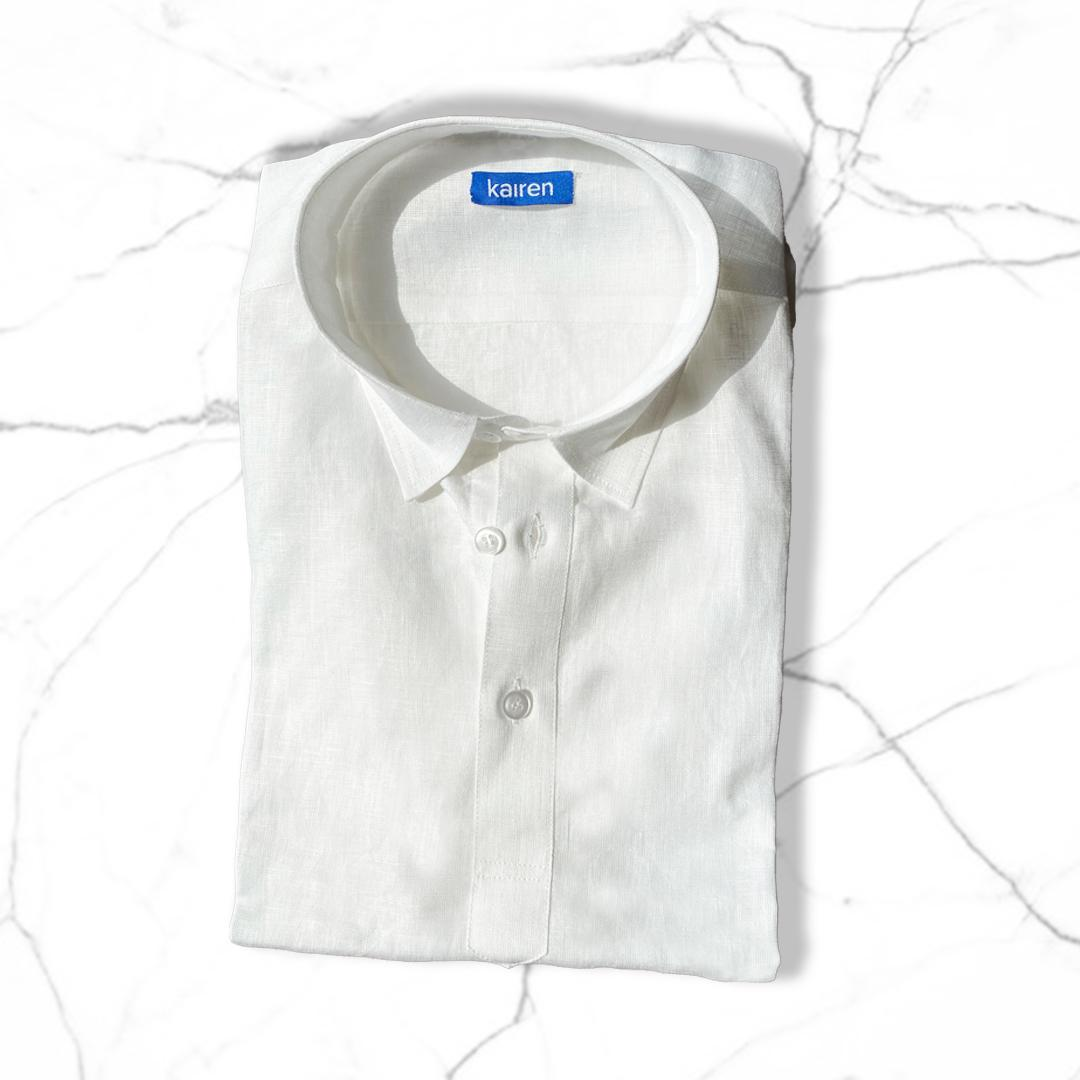 Men White Linen Shirt Popover