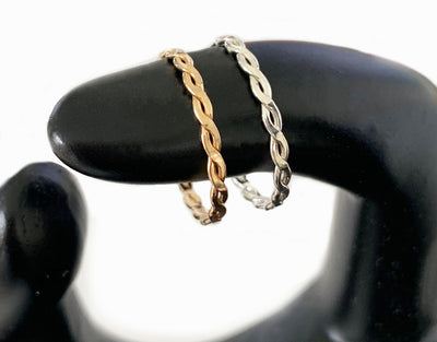 Braid Skinny Toe Ring shown in sterling and 14k gold fill on a model