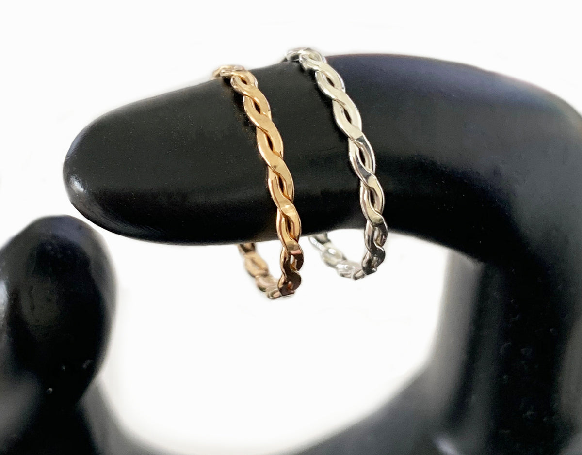 Skinny Band & Braid Stack Gold Fill Thumb Rings