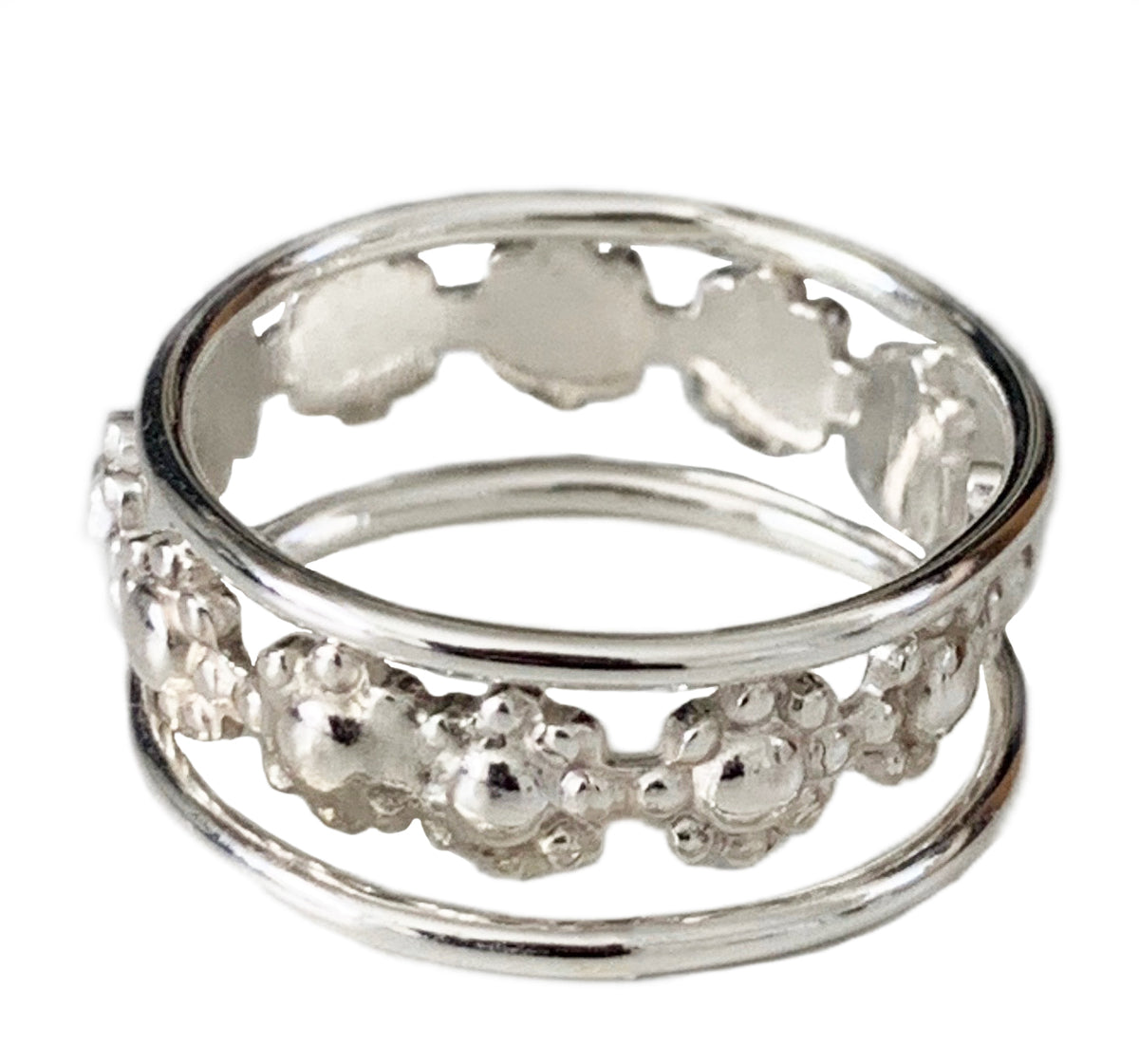 Flower Power Sterling Stack Toe Ring