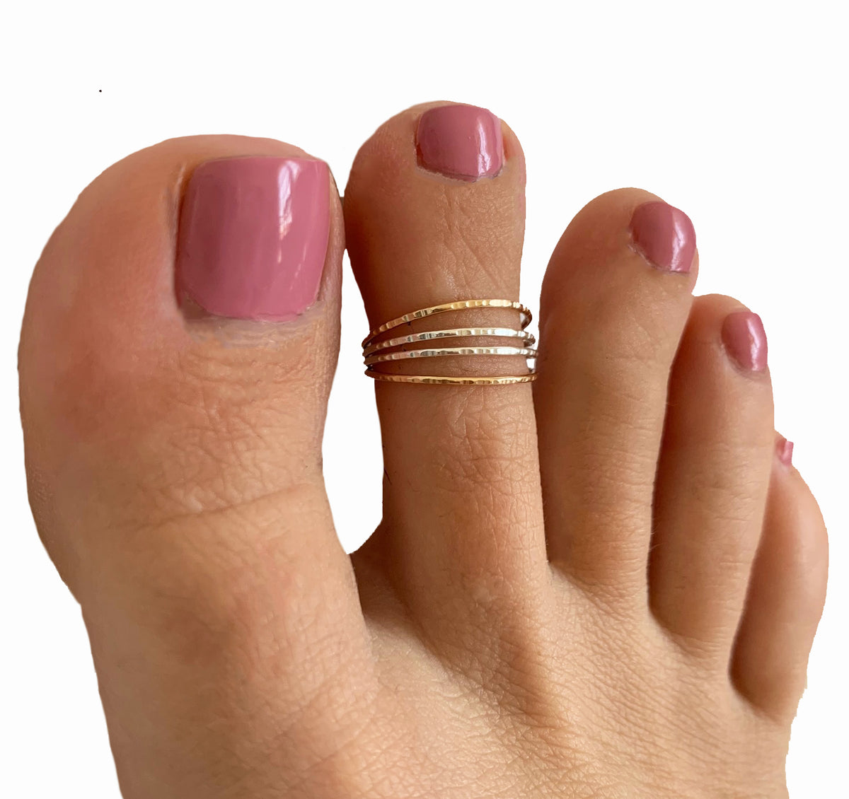 Four Strand Sterling & Gold Fill Adjustable Toe Ring shown on a toe