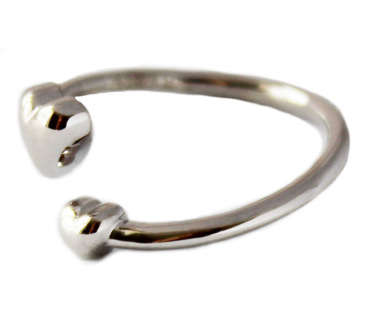 Two Hearts Sterling Adj Toe Ring