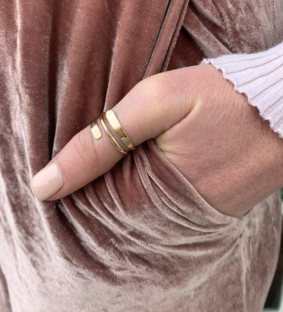 Pipeline Thumb Ring wrap around shown here in gold fill