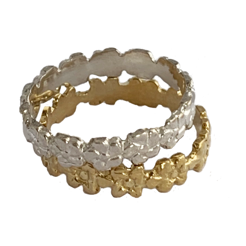 Aloha Lei Sterling Silver and Gold Fitted Toe Rings
