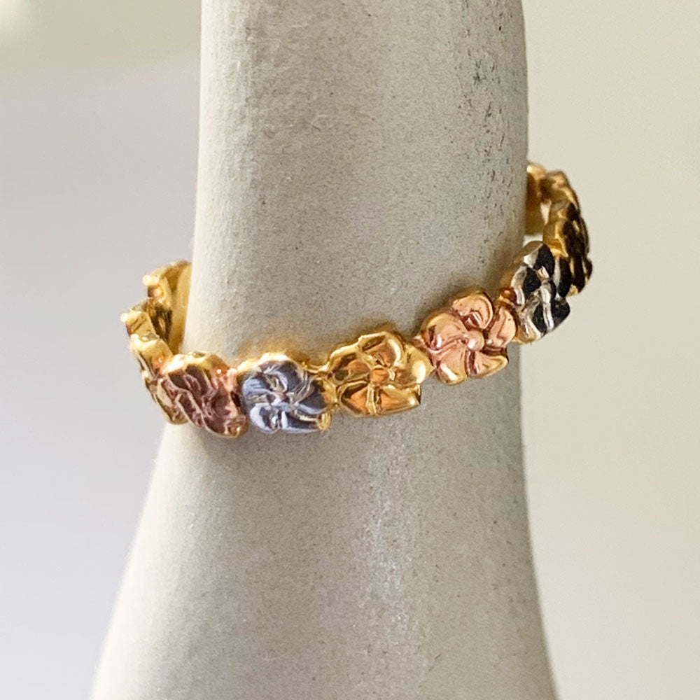 Aloha Lei Sterling & Gold & Pink Toe Ring