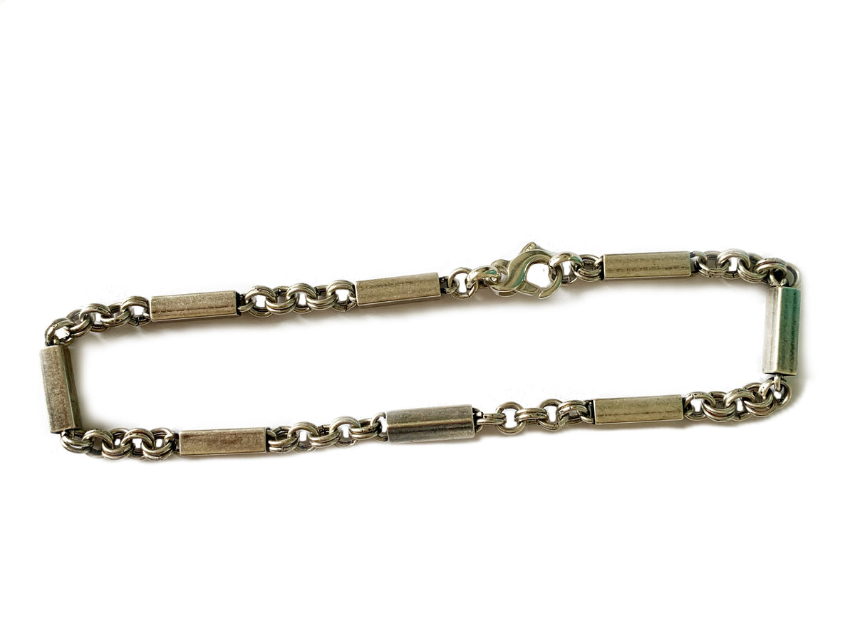 Men's Antique Bar Silver Anklet 11""