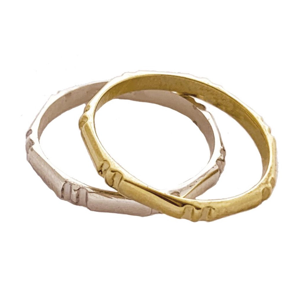 Bamboo Toe Ring shown in both Sterling and 14K Gold
