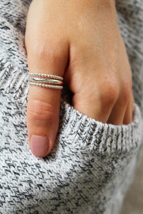 Bee Bee Stack Sterling Thumb Ring