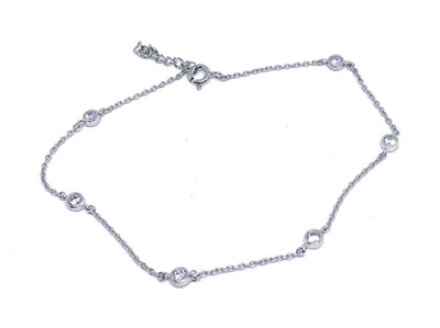 Bevel Set CZ Sterling Anklet